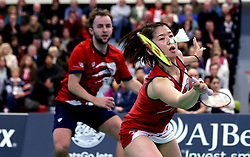 Mizuki Fuji of Bristol Jets and Ben Lane of Bristol Jets in action during the mixed doubles - Photo mandatory by-line: Robbie Stephenson/JMP - 06/02/2017 - BADMINTON - SGS Wise Arena - Bristol, England - Bristol Jets v Surrey Smashers - AJ Bell National Badminton League