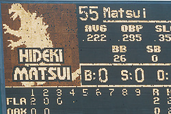 June 29, 2011; Oakland, CA, USA; General view of the scoreboard at O.co Coliseum as Oakland Athletics designated hitter Hideki Matsui (not pictured) is at bat during the third inning against the Florida Marlins.