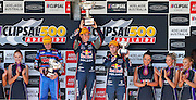 V8 Supercars. Clipsal 500. Adelaide Parklands Circuit.Adelaide. Australia. <br /> Saturday 2/3/2013. PODIUM - <br /> Craig LOWNDES (Aus) Red Bull Racing Australia wins the 78 lap V8 Supercars race one.<br /> Here celebrating his teamate Jamie WINCUP (Aus) and Will DAVIDSON (Aus) Pepsi Max Crew FPR Ford.<br /> copyright: © ATP Damir IVKA<br />  - <br /> V8 Tourenwagen Rennen in Adelaide, Australien - 2013,  v8 Saloon car race named Clipsal 500 - Honorarpflichtiges Foto, Fee liable image, Copyright © ATP Damir IVKA