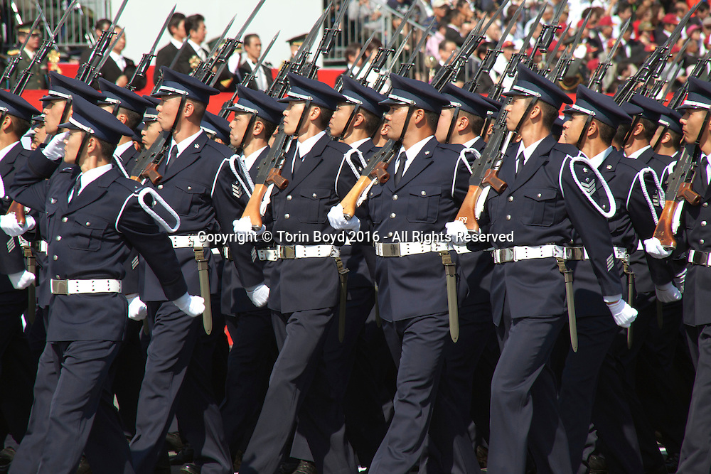 October, 23, 2016, Asaka, Saitama Prefecture, Japan: Members of the Japan Air Self Defense Force march in full regalia during the annual military review held at the Asaka Training Area, a Japan Ground Self Defense Force (JSDF) base on the outskirts of Tokyo. For this event, Prime Minister Shinzo Abe, top ranking Japanese brass and international dignitaries were in attendance to view Japan's military might. This included 4000 troops, 27 divisions, 280 vehicles and artillery, plus 50 aircraft of the Ground, Air, and Maritime branches of the JSDF. (Torin Boyd/Polaris).