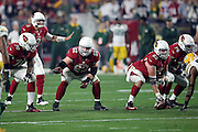 Arizona Cardinals guard Ted Larsen (62) points to his right while Arizona Cardinals center Lyle Sendlein (63) gets set to snap the ball during the NFL NFC Divisional round playoff football game against the Green Bay Packers on Saturday, Jan. 16, 2016 in Glendale, Ariz. The Cardinals won the game in overtime 26-20. (©Paul Anthony Spinelli)