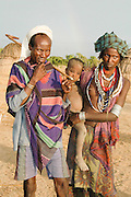 Africa, Ethiopia, Omo valley, a family of the Arbore tribe