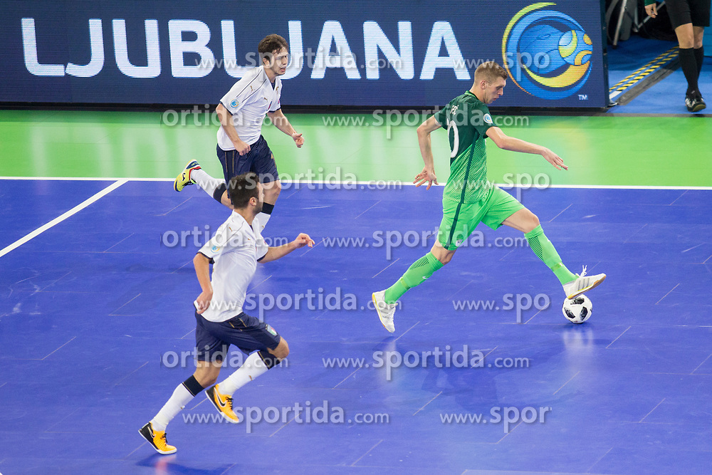 Alen Fetic of Slovenia during futsal match between National teams of Slovenia and Italy at Day 5 of UEFA Futsal EURO 2018, on February 3, 2018 in Arena Stozice, Ljubljana, Slovenia. Photo by Urban Urbanc / Sportida