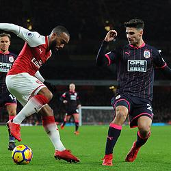 Alexandre Lacazette of Arsenal controls the ball during Arsenal vs Huddersfield, Premier League, 29.11.17 (c) Harriet Lander | SportPix.org.uk