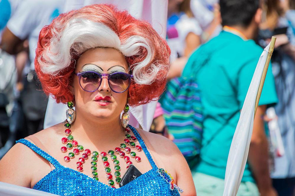 Cross dresser - The annual London Gay Pride march heads from Oxford Circus to Trafalgar Square.