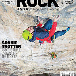 Sonnie Trotter climbing his addition to Blue Jeans on Mt Yamnuska. Blue Jeans Direct, 5.14a on the cover of Rock and Ice.