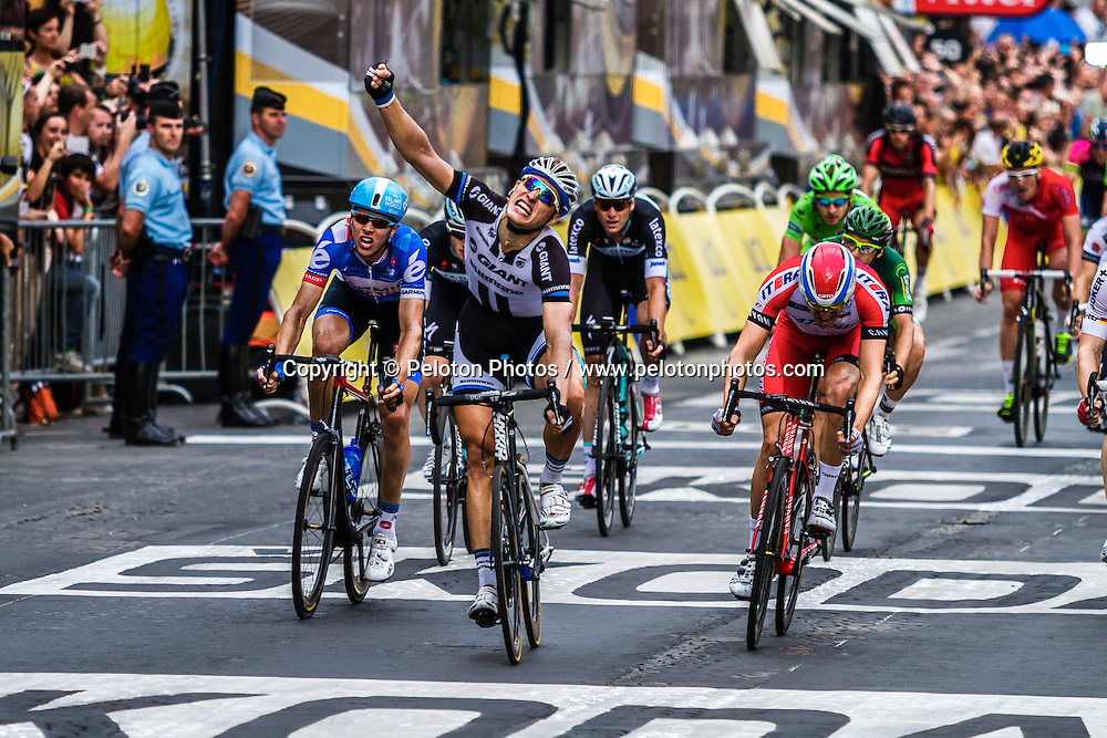Marcel Kittel (GER) of Giant Shimano, sprints to stage win before Alexander Kristoff, Katusha, Tour de France, Stage 21: Évry > Paris Champs-Élysées, UCI WorldTour, 2.UWT, Paris Champs-Élysées, France, 27th July 2014, Photo by Thomas van Bracht / PelotonPhotos.com