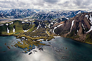 Frostastaðavatn at landmannalaugar in South-Iceland - aerial photography.