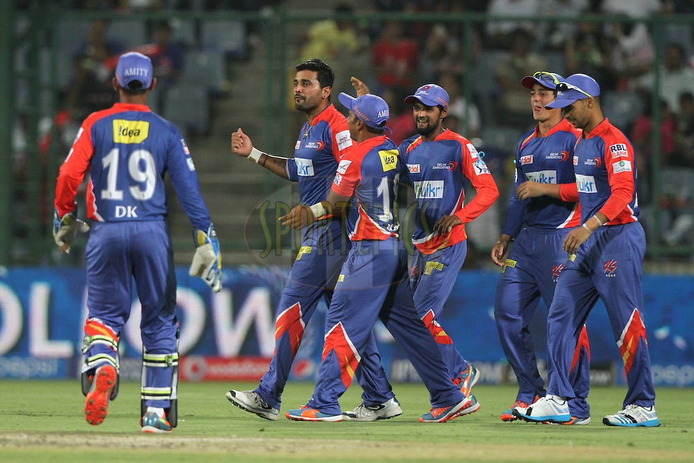 Murali Vijay of the Delhi Daredevils celebrates the wicket of Ajinkya Rahane of the Rajatshan Royals during match 23 of the Pepsi Indian Premier League Season 2014 between the Delhi Daredevils and the Rajasthan Royals held at the Feroze Shah Kotla cricket stadium, Delhi, India on the 3rd May  2014<br /> <br /> Photo by Deepak Malik / IPL / SPORTZPICS<br /> <br /> <br /> <br /> Image use subject to terms and conditions which can be found here:  http://sportzpics.photoshelter.com/gallery/Pepsi-IPL-Image-terms-and-conditions/G00004VW1IVJ.gB0/C0000TScjhBM6ikg