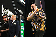 Adrian Lewis misses a chance at a double during the Premier League Darts  at the Motorpoint Arena, Cardiff, Wales on 31 March 2016. Photo by Shane Healey.
