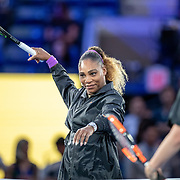 2019 US Open Tennis Tournament- Day Eleven.  Serena Williams of the United States warming up at the net for her match against Elina Svitolina of the Ukraine in the Women's Singles Semi-Finals match on Arthur Ashe Stadium during the 2019 US Open Tennis Tournament at the USTA Billie Jean King National Tennis Center on September 5th, 2019 in Flushing, Queens, New York City.  (Photo by Tim Clayton/Corbis via Getty Images)