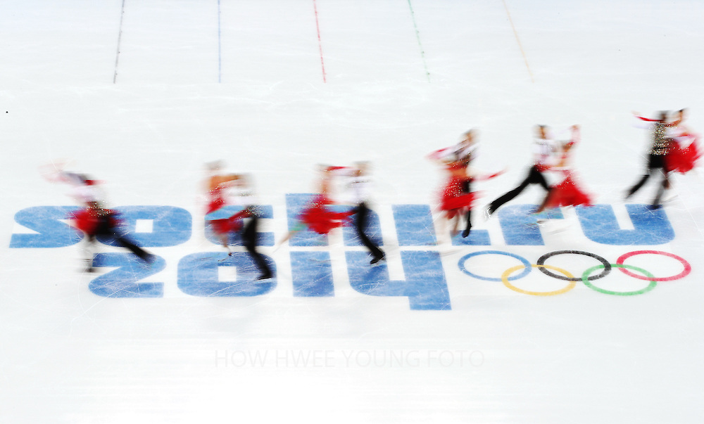 A multiple exposure picture of Cathy Reed and Chris Reed from Japan perform during the Ice Dance Short Dance of the Figure Skating event at the Iceberg Palace during the Sochi 2014 Olympic Games, Sochi, Russia, 16 February 2014.