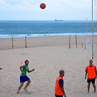 Beach Futbol game on Carcavelos beach in the early evening - Renaldo jerseys vs regualr shirts.