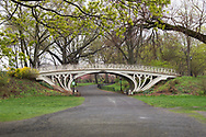 Gothic bridge over the bridle path around the Reservoir in Central Park