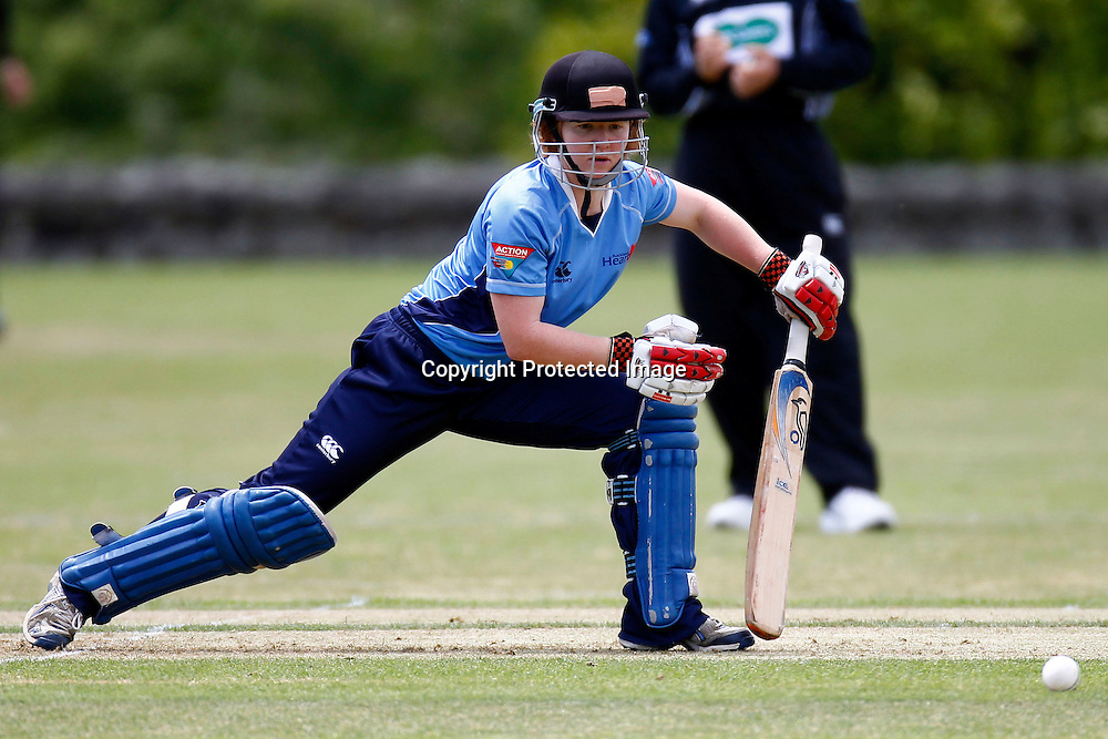 Auckland's Katie Perkins during the Action Cricket Cup match between the Auckland Hearts and Canterbury Magicians. Women's domestic one day cricket. Melville Park, Auckland, New Zealand. Saturday 4 December 2011. Ella Brockelsby / photosport.co.nz