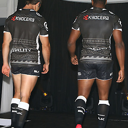 DURBAN, SOUTH AFRICA, December 3 2015 - Paul Jordaan with Sibusiso Sithole during The Cell C Sharks Official Launch and unveiling of The Cell C Sharks Super Rugby Jersey at Growthpoint Kings Park in Durban, South Africa. (Photo by Steve Haag)<br /> images for social media must have consent from Steve Haag