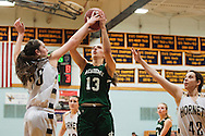Essex's Lizzie Goodrich block the shot by St. Johnsbury's Gunnhidur Atladottir (13) during the girls basketball game between the St. Johnsbury Hilltoppers and the Essex Hornets at Essex high school on Tuesday night January 5, 2016 in Essex. (BRIAN JENKINS/for the FREE PRESS)