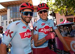 30.05.2019, Santa Maria di Sala, ITA, Giro d Italia 2019, 18. Etappe, Valdaora, Olang - Santa Maria di Salaz (222 km), im Bild v.l. Marco Haller (AUT, Team Katusha - Alpecin), Ilnur Zakarin (RUS, Team Katusha - Alpecin) // f.l. Marco Haller of Austria (Team Katusha - Alpecin) Ilnur Zakarin of Russian Federation (Team Katusha Alpecin) during stage 18 of the 102nd Giro d'Italia cycling race from Valdaora, Olang - Santa Maria di Sala(222 km) Santa Maria di Sala, Italy on 2019/05/30. EXPA Pictures © 2019, PhotoCredit: EXPA/ Reinhard Eisenbauer