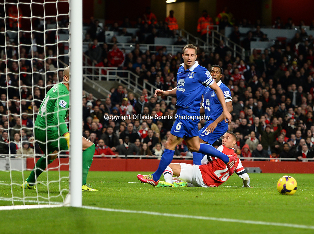 8th December 2013 - Barclays Premier League - Arsenal v Everton - Kieran Gibbs of Arsenal looks on after failing to meet a cross - Photo: Marc Atkins / Offside.