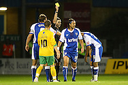 Gillingham - Tuesday October 6th, 2009:  Gillingham's Adam Miller gets a yellow card during the Johnstones Paint Trophy R2S match at the KRBS Priestfield, Gillingham, Kent. (Pic by Paul Chesterton/Focus Images)