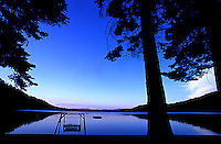 Swimming dock on Fallen Leaf Lake, CA.<br />