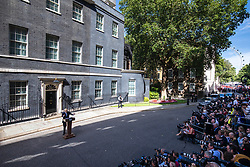 © Licensed to London News Pictures. 24/07/2019. London, UK. Boris Johnson gives a speech as he arrives at 10 Downing Street for the first time as Prime Minister. Photo credit: Rob Pinney/LNP