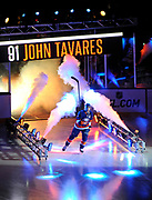 New York Islanders' John Tavares is introduced to the fans during the NHL season opener hockey game against the Columbus Blue Jackets on Saturday, Oct. 10, 2013, in Uniondale, N.Y. (AP Photo/Kathy Kmonicek)