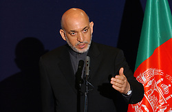 BRUSSELS, BELGIUM - MAY-12-2005 - Hamid Karzai - President of Afghanistan speaks during a press briefing at the European Council Headquarters, in Brussels. (PHOTO © JOCK FISTICK)<br />