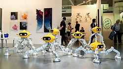 "© Licensed to London News Pictures. 19/05/2016. London, UK. Lee Ming Dao's ""Tika"" series of robot like figures.  Art16 opens at Olympia, in west London.  Now in its fourth edition, the fair brings together over 100 galleries from more than 30 countries showcasing a diverse cross-section of work by contemporary artists from around the world for buyers and art enthusiasts to visit. Photo credit : Stephen Chung/LNP"