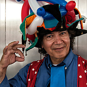 Outdoor half length portrait of &quot;The Balloon Guy&quot; at the Bastille Day celebration in New York City.<br />
