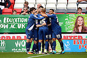 Birmingham City midfielder, Jon Toral (20) celebrating after scoring 0-1 during the Sky Bet Championship match between Charlton Athletic and Birmingham City at The Valley, London, England on 2 April 2016. Photo by Matthew Redman.