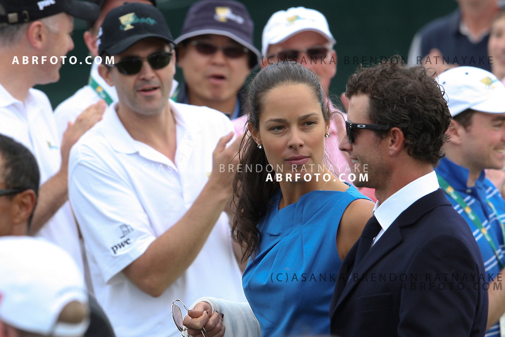 20 November 2011 : Adam Scott & his girlfriend Ana Ivanovic during the fifth-round Sunday Final round single ball matches at the Presidents Cup at the Royal Melbourne Golf Club in Melbourne, Australia. .