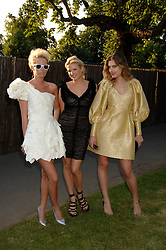 Left to right, the HON.SOPHIA HESKETH, FIONA SCARRY and SARA BRAJOVIC at the annual Serpentine Gallery Summer Party in association with Swarovski held at the gallery, Kensington Gardens, London on 11th July 2007.<br />