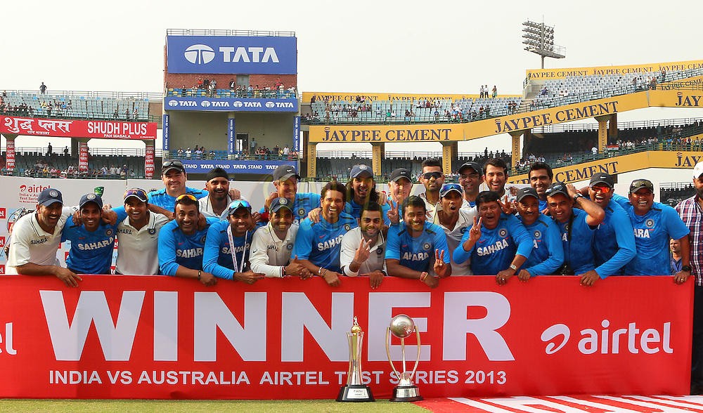 India are series champions during day 3 of the 4th Test Match between India and Australia held at the Feroz Shah Kotla stadium in Delhi on the 24th March 2013..Photo by Ron Gaunt/BCCI/SPORTZPICS ..Use of this image is subject to the terms and conditions as outlined by the BCCI. These terms can be found by following this link:..http://www.sportzpics.co.za/image/I0000SoRagM2cIEc