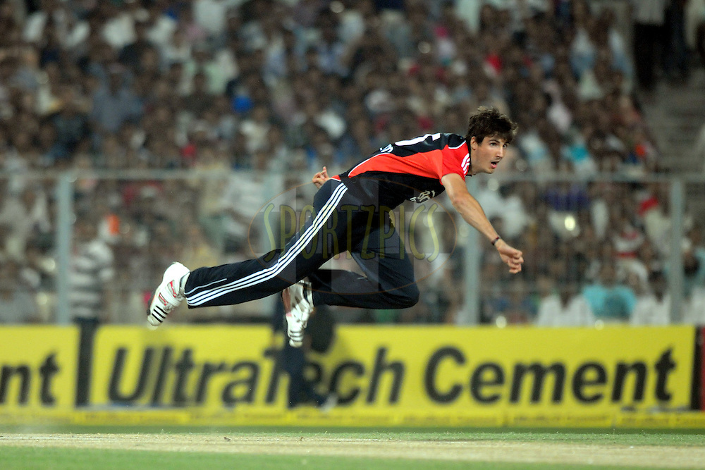 Steven Finn of England bowls during the T20 International match between India and England held at the Eden Gardens Stadium, Kolkata on the 29th October 2011..Photo by Pal Pillai/BCCI/SPORTZPICS