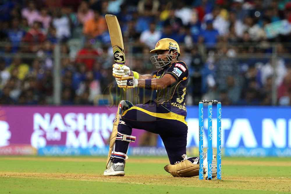 Robin Uthappa of the Kolkata Knight Riders plays a shot during match thirty seven of the Vivo Indian Premier League 2018 (IPL 2018) between the Mumbai Indians and the Kolkata Knight Riders   held at the Wankhede Stadium in Mumbai on the 6th May 2018.<br /> <br /> Photo by: Vipin Pawar /SPORTZPICS for BCCI
