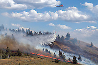 A forest service helicopter dumps water on a wildfire burning up the east side of Coyote Canyon on the southwest corner of East Gros Ventre Butte. Officials suspect the fire started after a transformer near the entrance to the Teton Science School sparked grasses and sage brush.