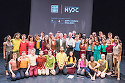 National Youth Dance Companies 2016 Graduation in the Lillian Baylis Studio of Sadlers Wells Theatre, London. Featuring NYDC performing In-Nocentes, choreographed by Sadler's Wells Associate Artist and NYDC 2015-16 Guest Artistic Director Michael Keegan-Dolan, award-winning Founder and Artistic Director of the former Fabulous Beast Dance Theatre. <br /> <br /> Set to Vivaldi's The Four Seasons, recomposed by Max Richter, In-Nocentes sees Keegan-Dolan utilise the clarity, integrity and power of 42 young dancers moving through space with a shared intention, each open to the possibility of transformation through the act of dancing. <br /> <br /> The performance also features TIN Arts, with In the Frame, inspired by the work of painter Jack Vettriano. The piece marks the culmination of a partnership between NYDC and Tin Arts, developing talent and high quality performance opportunities for young disabled artists.