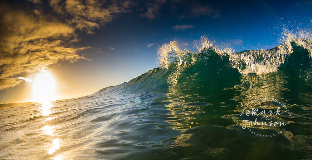 Breaking shorebreak wave at sunrise, Hawaii