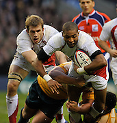 Twickenham, GREAT BRITAIN, Delon ARMITAGE, with the ball, driven on by team mate Tom CROFT, during the Investic Challenge, England vs Australia, Autumn International at Twickenham Stadium, Surrey on Sat 15.11.2008 [Photo, Peter Spurrier/Intersport-images]