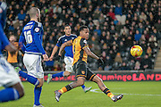 Abel Hernández (Hull City) during the Sky Bet Championship match between Hull City and Cardiff City at the KC Stadium, Kingston upon Hull, England on 13 January 2016. Photo by Mark P Doherty.