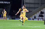 Ryan Ledson strikes during the Sky Bet League 2 match between Morecambe and Cambridge United at the Globe Arena, Morecambe, England on 24 November 2015. Photo by Pete Burns.