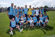 Riverside CSC with the Sean Kelly Memorial Cup - Riverside CSC (light blue) v Hilltown Hotspurs (green) in the Dundee Saturday Morning Football League Shaun Kelly Memorial Cup Final at North end, Dundee, Photo: David Young<br /> <br />  - &copy; David Young - www.davidyoungphoto.co.uk - email: davidyoungphoto@gmail.com
