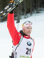 Third placed EDER Simon (AUT) celebrates at medal ceremony after the Men 15 km Mass Start at day 4 of IBU Biathlon World Cup 2014/2015 Pokljuka, on December 21, 2014 in Rudno polje, Pokljuka, Slovenia. Photo by Vid Ponikvar / Sportida