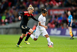 Demi Stokes of England is challenged by Anja Mittag of Germany - Photo mandatory by-line: Rogan Thomson/JMP - 07966 386802 - 23/11/2014 - SPORT - WOMEN'S FOOTBALL - Wembley Stadium - England v Germany - Breast Cancer Care International Friendly Match.