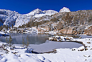 Morning light on Mount Abbot and Gem Lake after a winter storm, John Muir Wilderness, Sierra Nevada Mountains, California