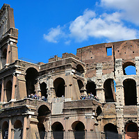 Western Fa&ccedil;ade of the Colosseum in Rome, Italy <br />
