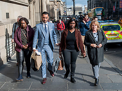 Pictured: Adama Jalloh (left) and Kadi Johnson (2nd Right), sister's of Sheku Bayoh, leave the Crown Office with lawyer Aamer Anwar and campaigner Deborah Coles (right)<br /> <br /> &copy; Dave Johnston / EEm