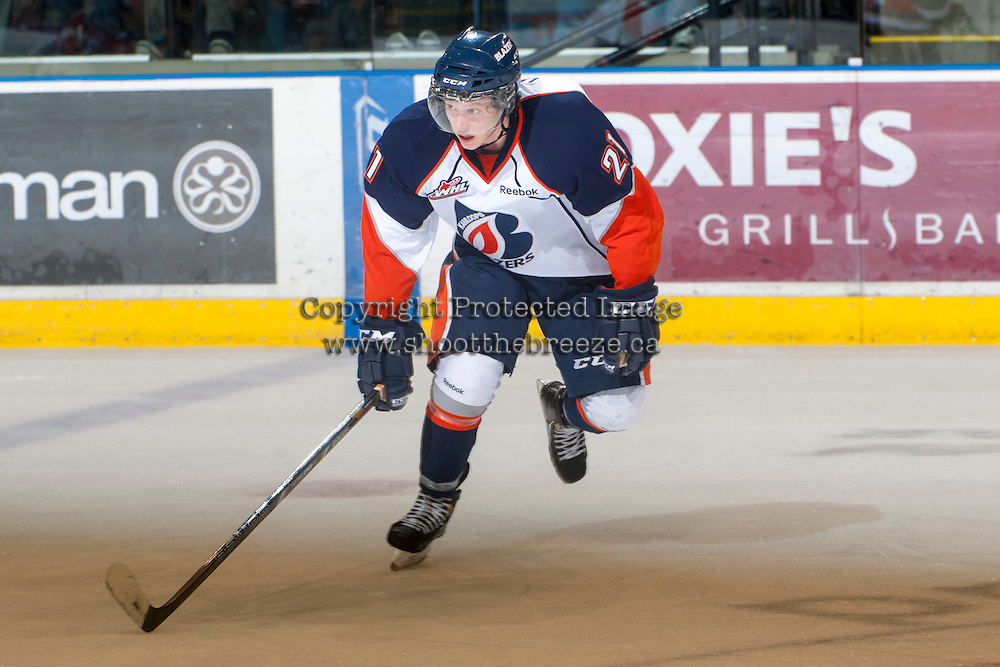 KELOWNA, CANADA - NOVEMBER 1:  Cole Ully #21 of the Kamloops Blazers skates on the ice at the Kelowna Rockets on November 1, 2012 at Prospera Place in Kelowna, British Columbia, Canada (Photo by Marissa Baecker/Shoot the Breeze) *** Local Caption ***