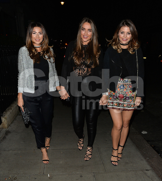TOWIE star Chloe Lewis and friends at Roka restaurant in London, UK. 17/04/2016<br />
